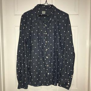 J. Crew Chambray Perfect Shirt Polka Dot size XL